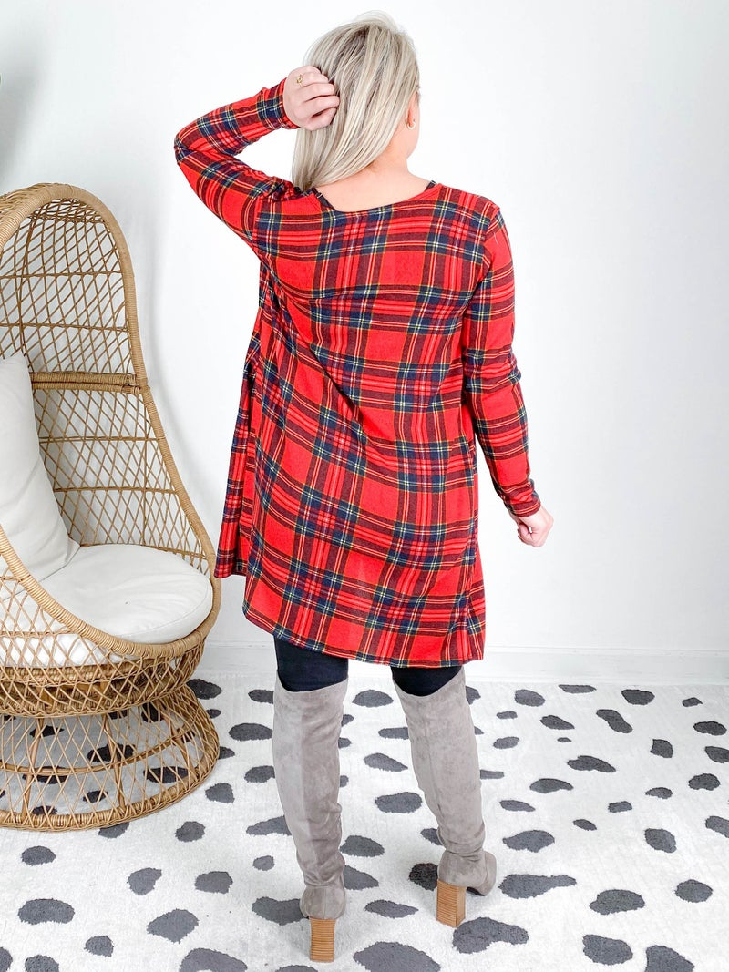 PLUS/REG Red & Navy Plaid Open Front Cardigan