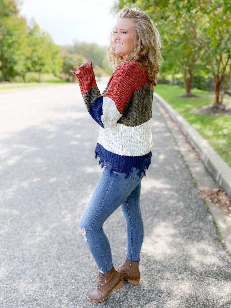 RESTOCK! Distressed Stripe Color Block Sweater (Multiple Colors)