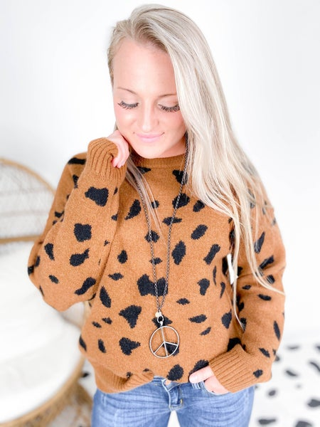 Abstract Animal Print Crew Neck Sweater (Multiple Colors)