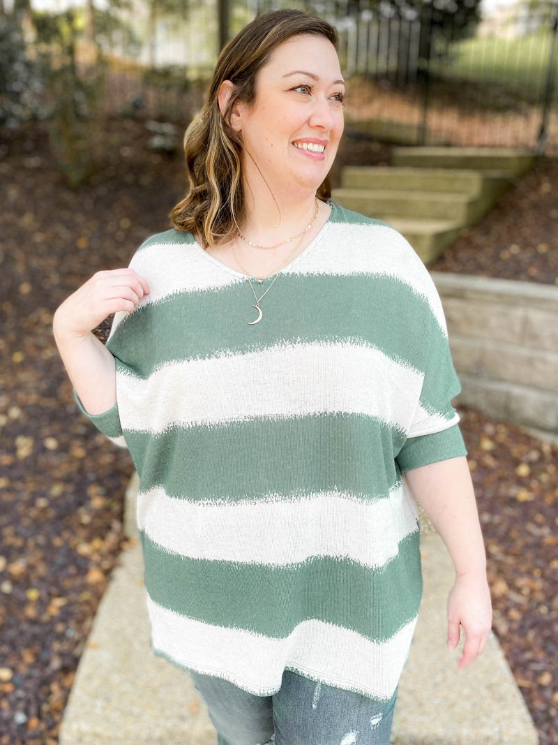 PLUS/REG Honeyme Teal Stripe Boxy Top