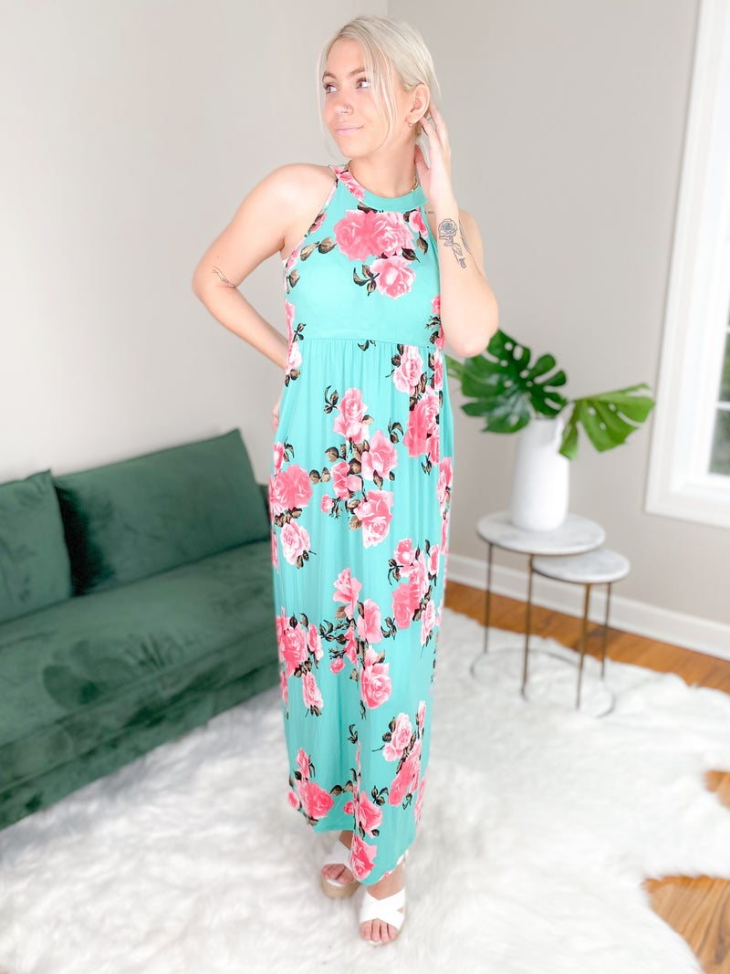 Floral Sleeveless Halter Neck Maxi Dress With Side Pockets