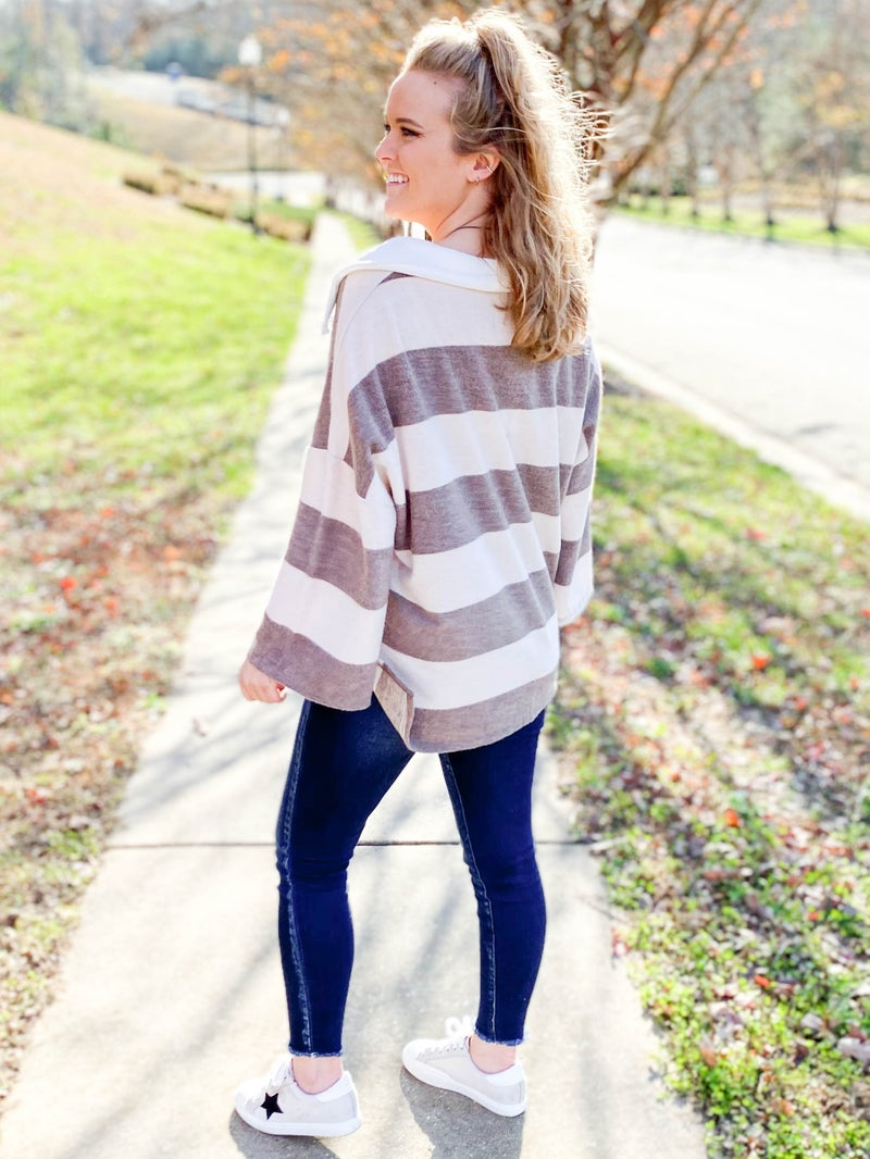 Soft Brushed Striped Open Collared Top