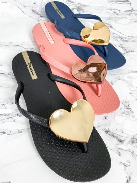 Ipanema Metallic Heart Flip Flops (Multiple Colors)