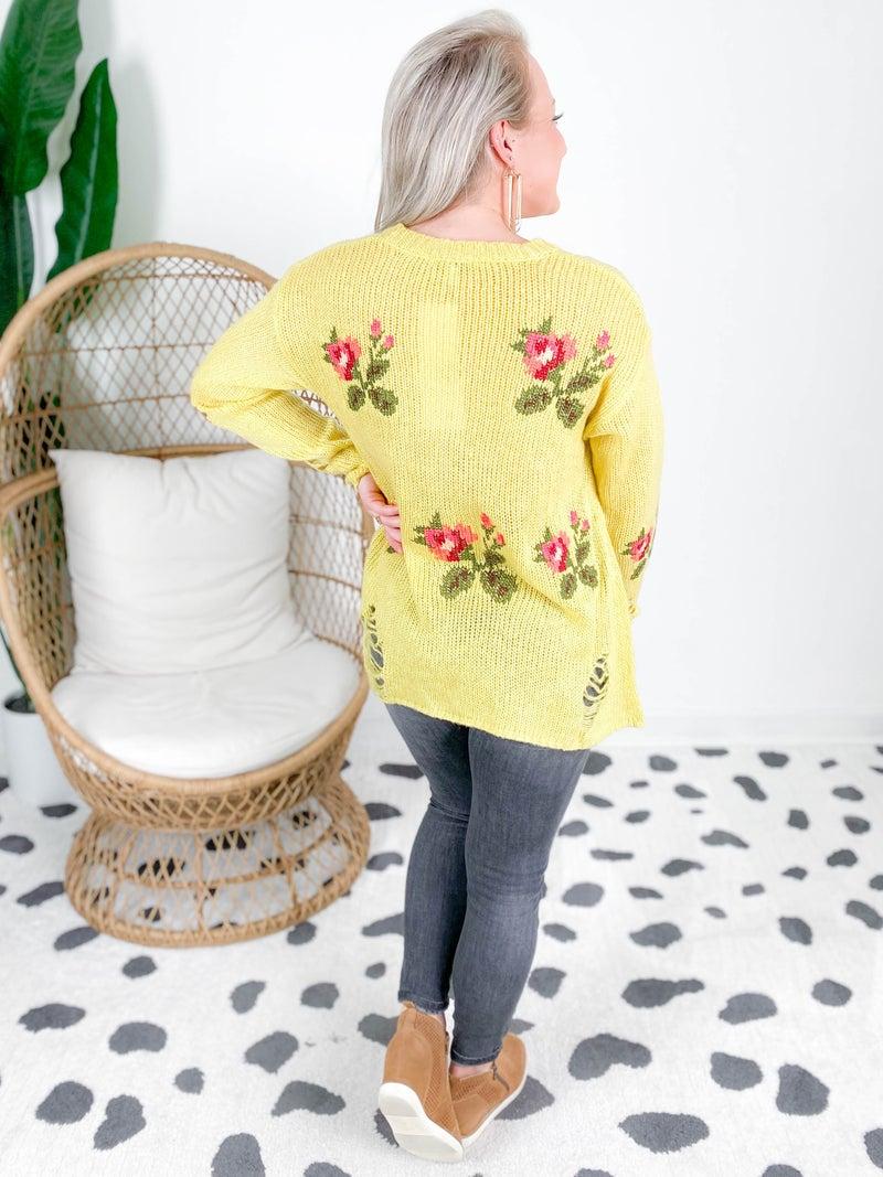 PLUS/REG Distressed Floral Sweater (Multiple Colors)