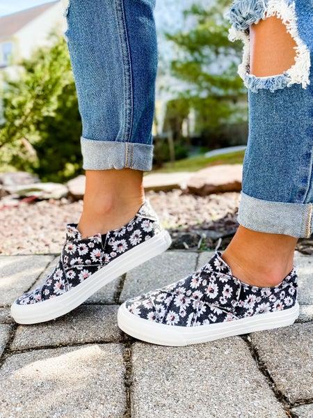 Black Floral Criss Cross Velcro Sneaker