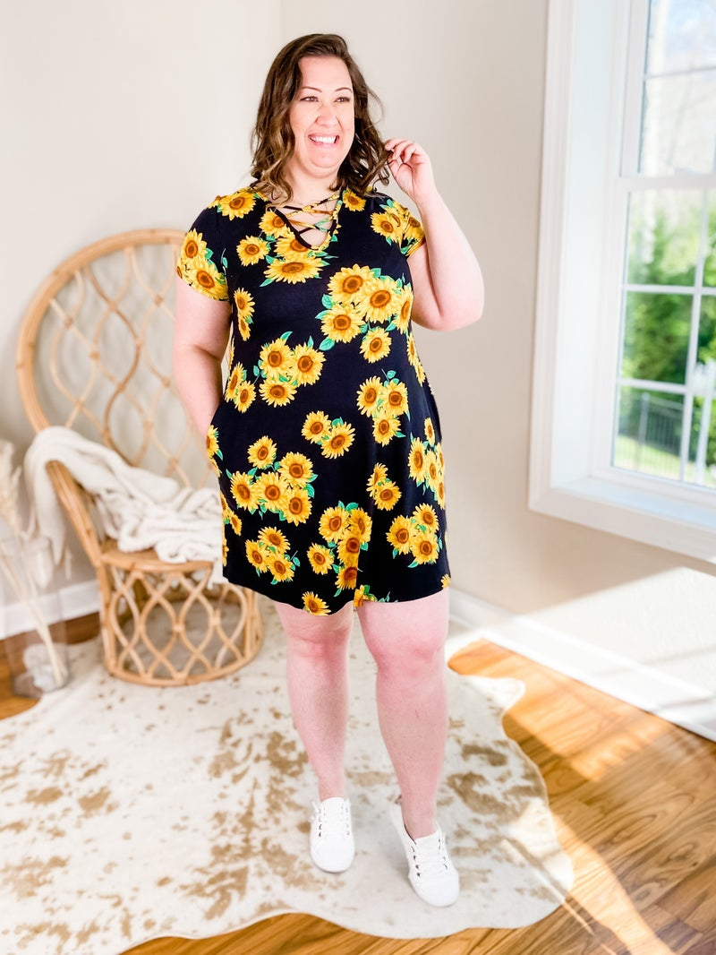 Black Short Sleeve Criss cross Front Sunflower Dress