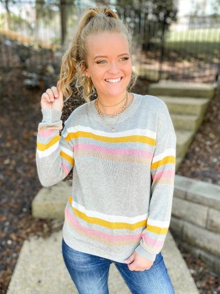 Crew Neck Pastel Striped Grey Sweater