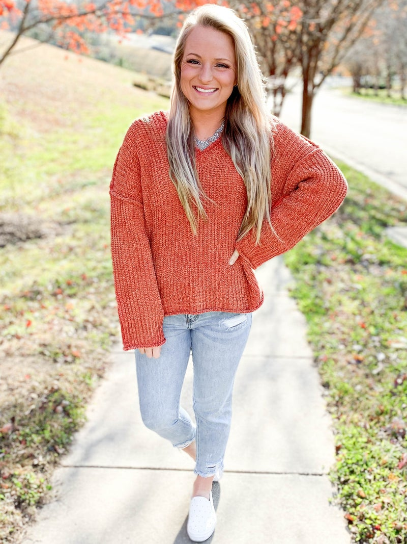 POL Chenille Knit Hooded Sweater (Multiple Colors)