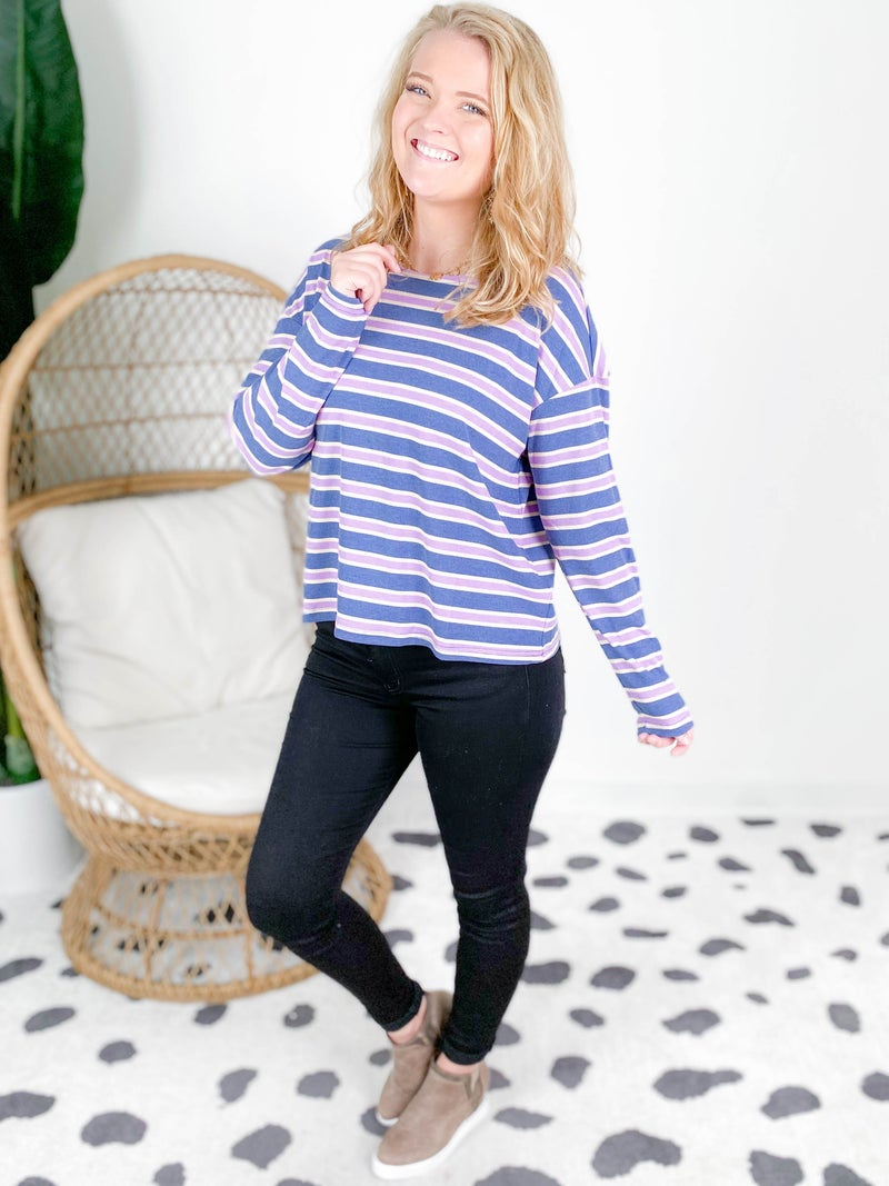 Multi Stripe Ribbed Long Sleeve Knit Top (Multiple Colors)
