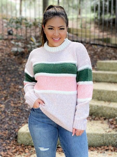 Textured Mauve Multi Stripe Pullover Sweater