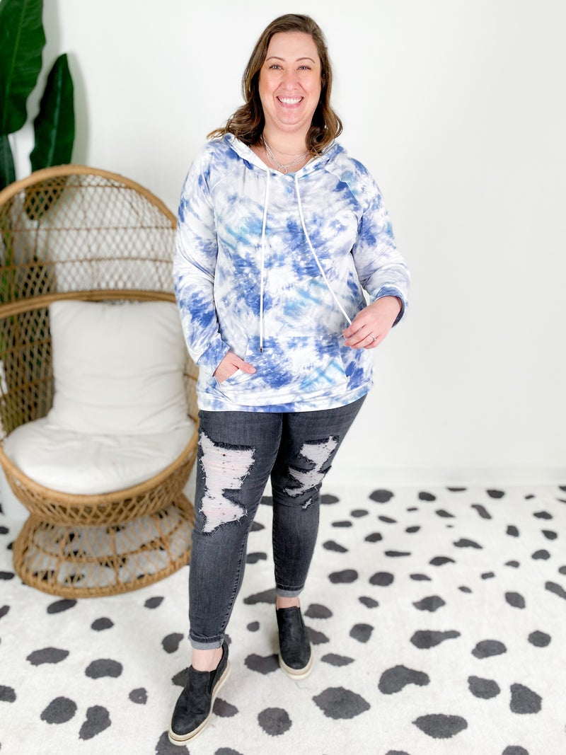 Tie Dye Soft Knit Hooded Top