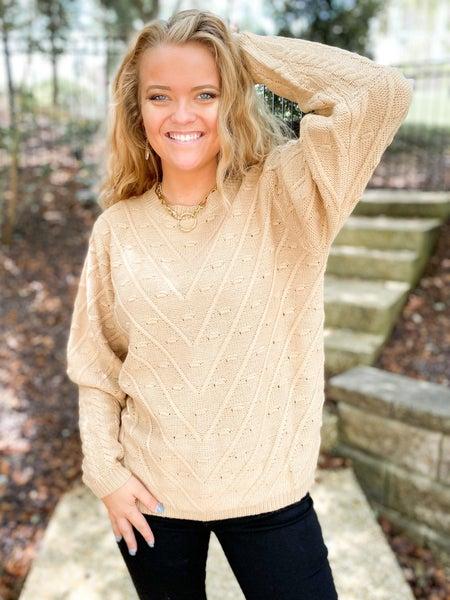 Taupe Textured Balloon Sleeve Sweater