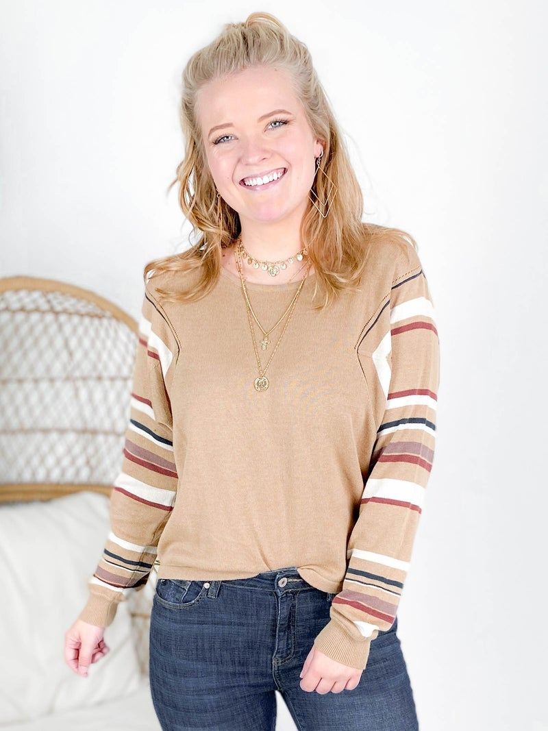 PLUS/REG Ribbed Round Neck Knit Top