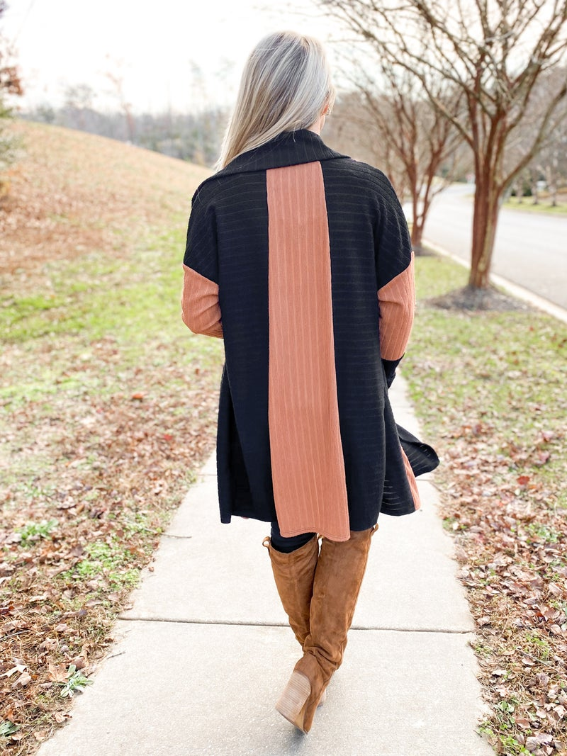 Black & Brown Color Block Draped Open Front Cardigan
