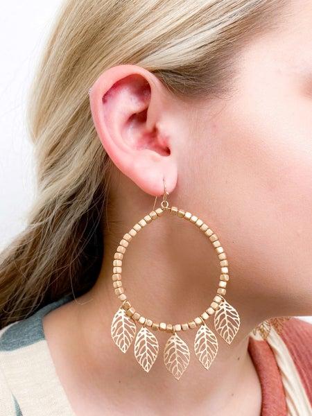 Gold Beaded Leaf Earrings