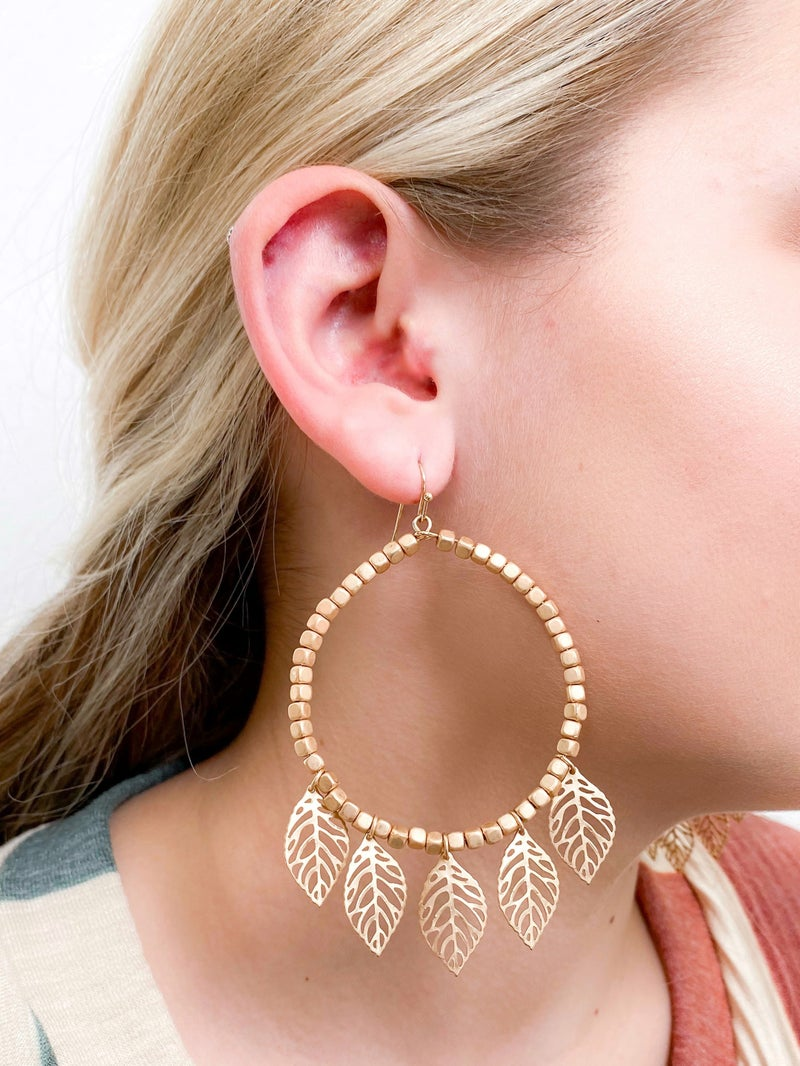 Gold Beaded Leaf Earrings