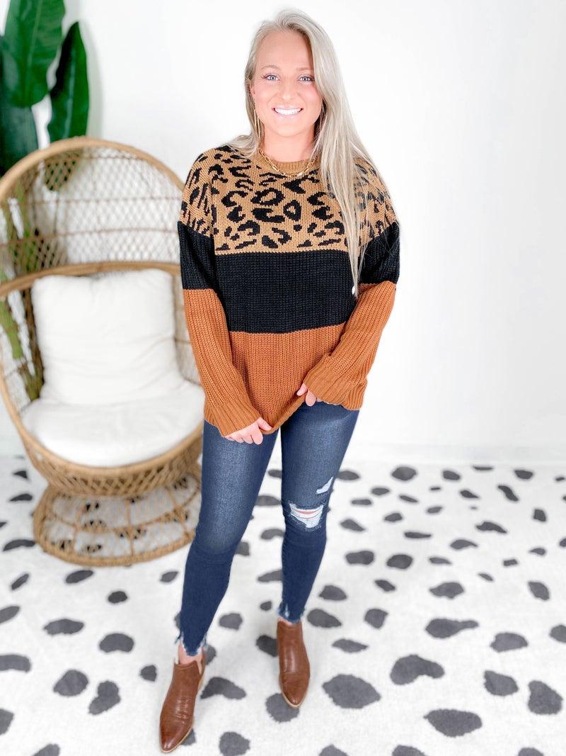 Caramel Leopard Color Block Sweater