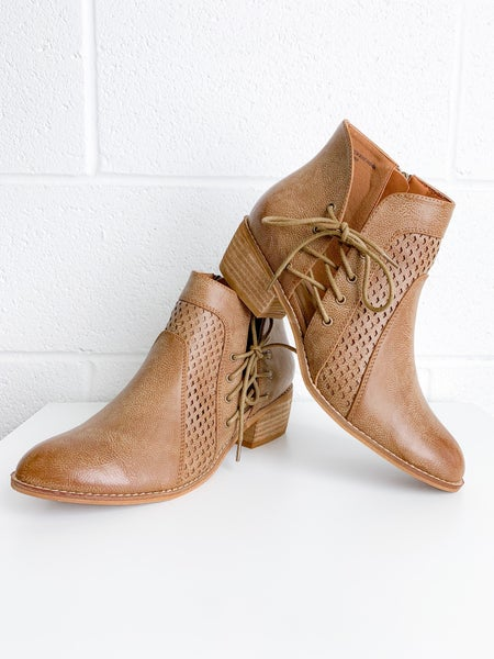 Camel Bootie With Side Lace