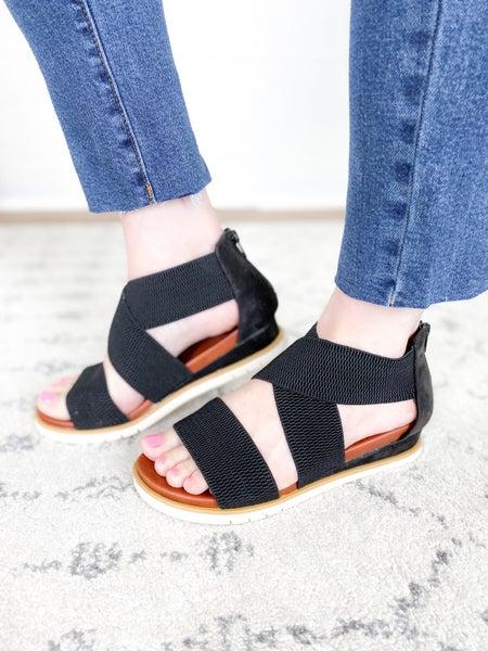 MIA Black strap sandal with zipper back