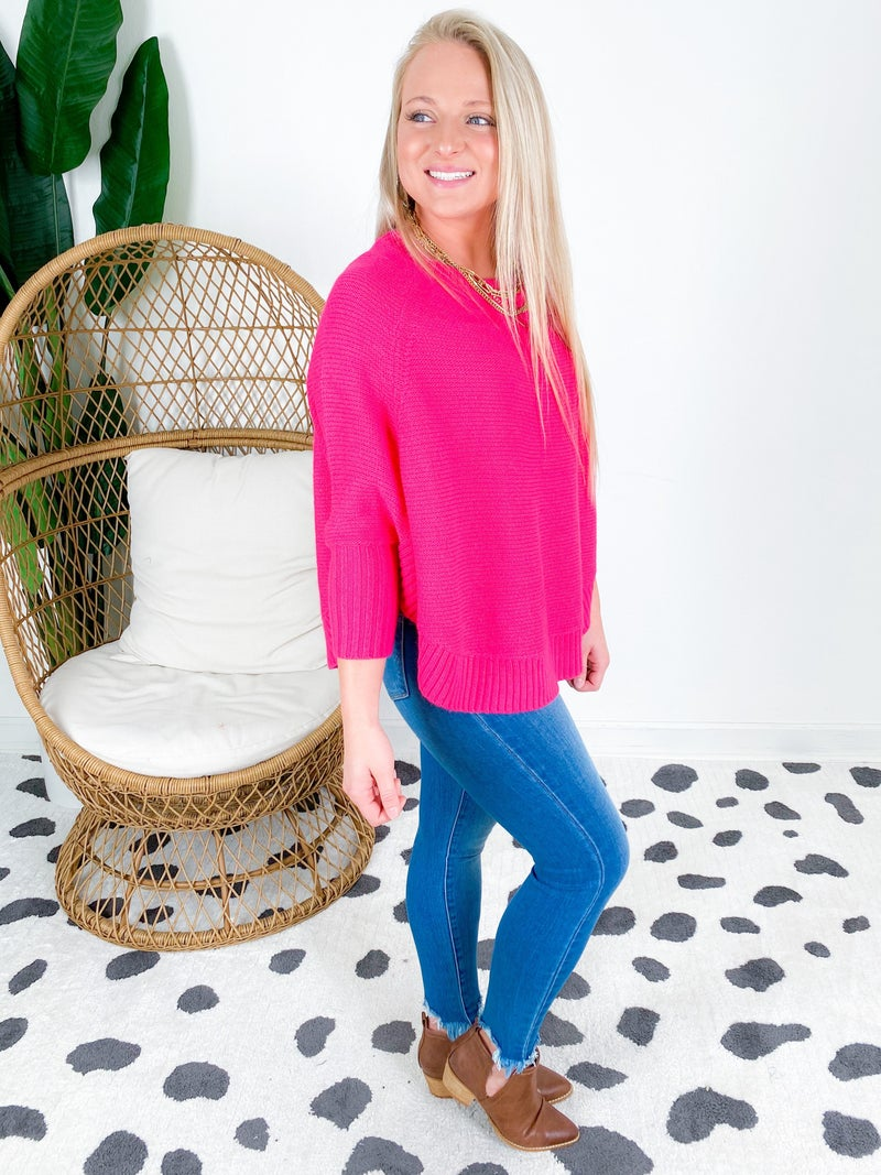 Hot Pink Poncho Sweater Top