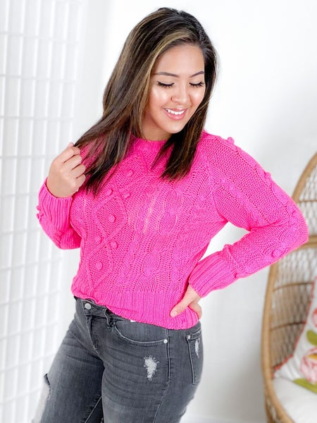 Pom Detail Cable Knit Sweater (Multiple Colors)