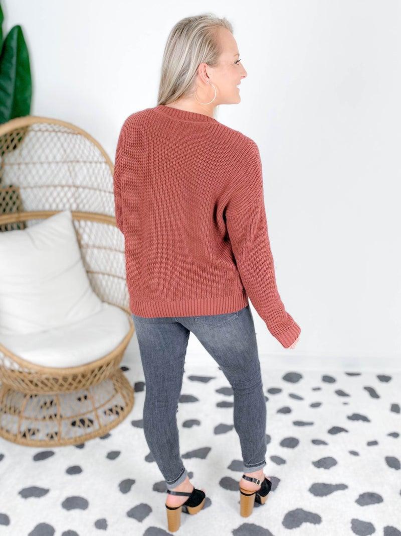 Multi-Texture Chevron Knit Sweater (Multiple Colors)