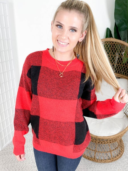 RESTOCK!!! Soft Oversized Buffalo Plaid Sweater (Multiple Colors)