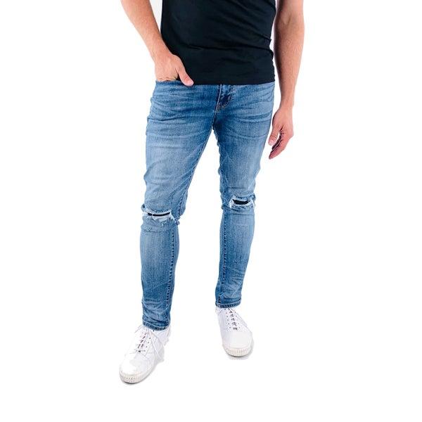 MANKAN - Men's Distressed Knee Medium Wash KanCan Skinny Jeans
