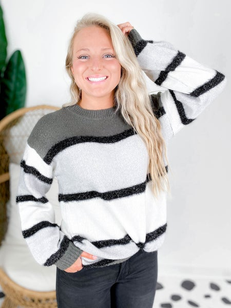 Fuzzy Sparkle Stripe Sweater (Multiple Colors)