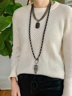 """Karli Buxton 36"""" Matte Black Attachment Chain with Pave Lobster Clasp"""