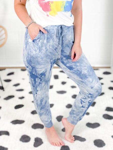 PLUS/REG Honeyme Blue Tie Dye Joggers