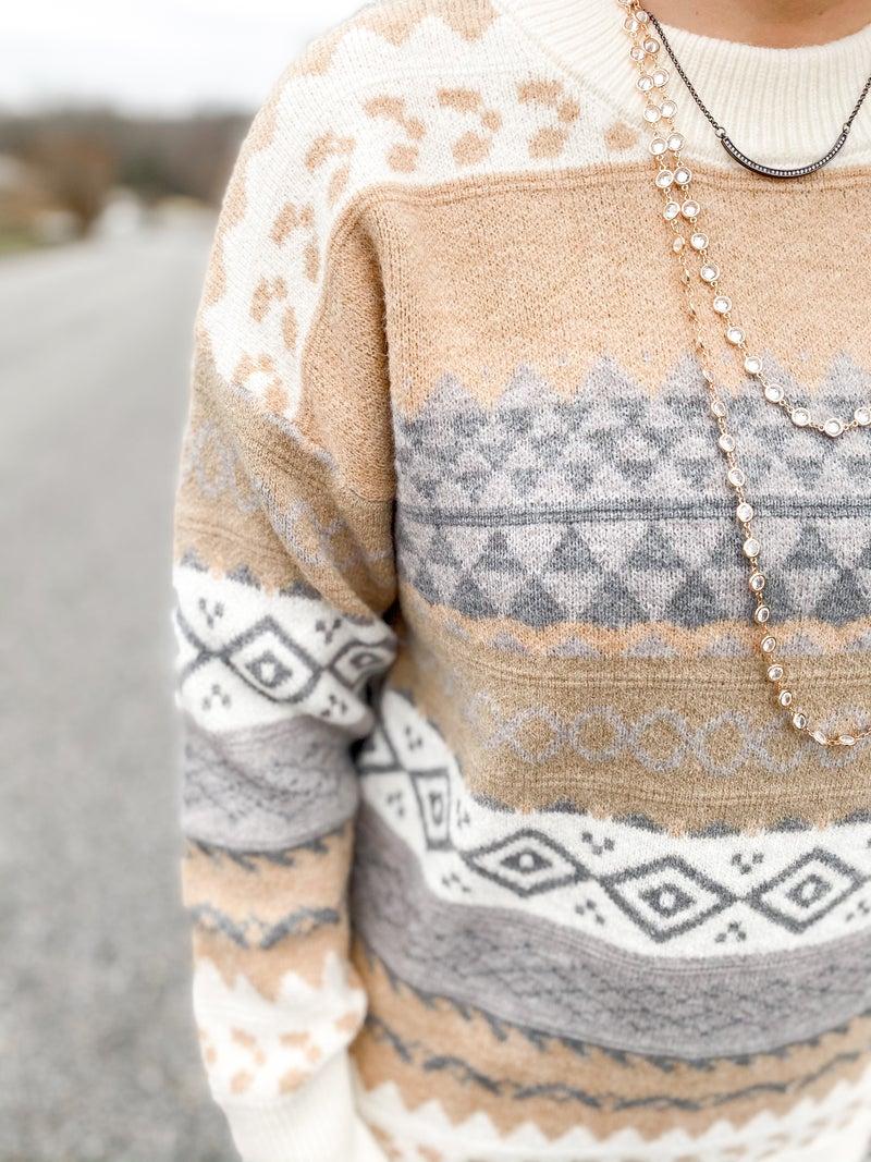 PLUS/REG Cream Multi Pattern Sweater