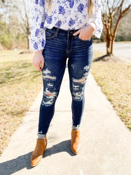 PLUS/REG Cute but Psycho Judy Blue Distressed Skinny Jeans