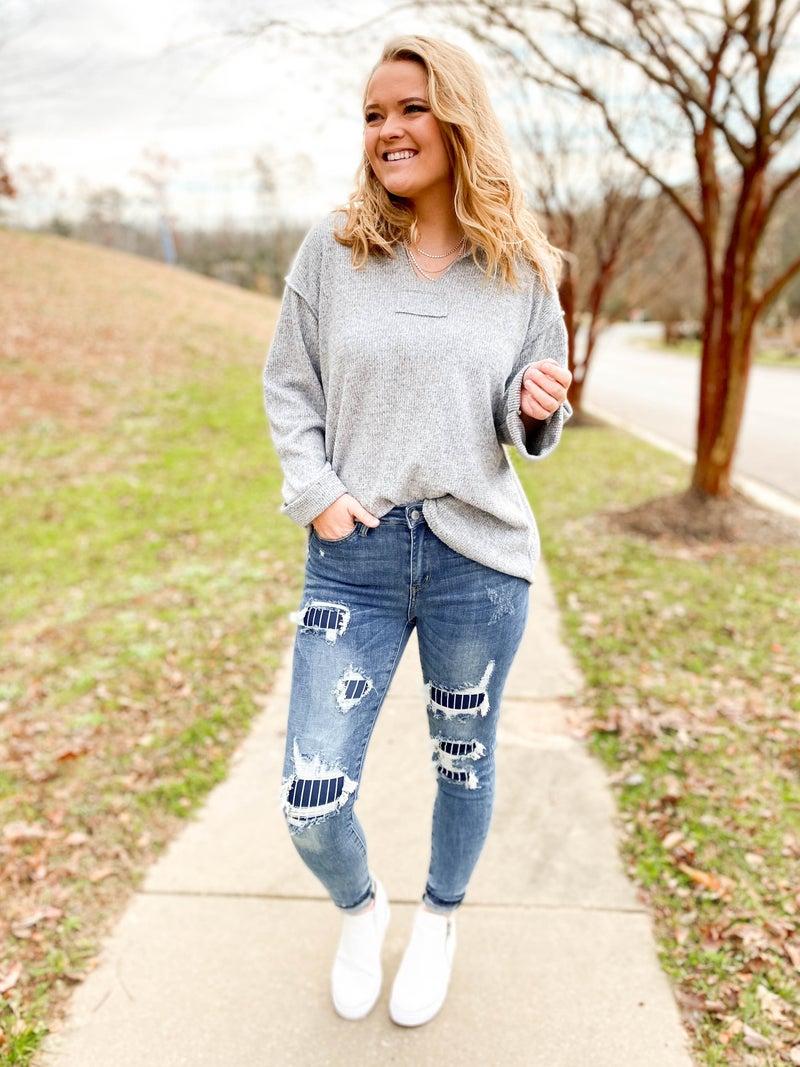 PLUS/REG Pin Up Girl Judy Blue Pinstripe Patch Skinny Jeans