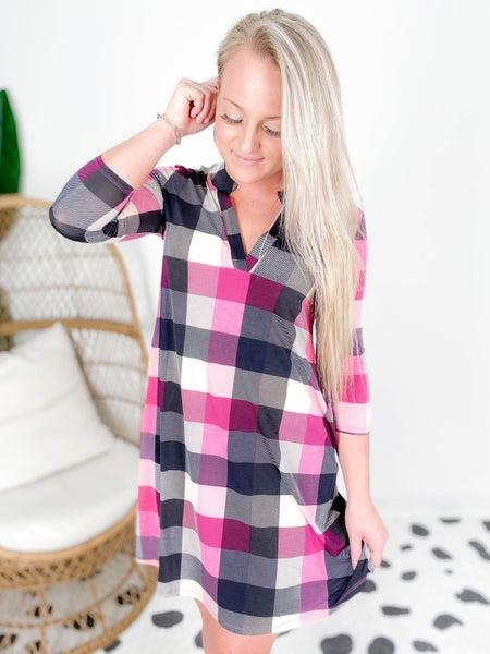 PLUS/REG Plaid Print Tunic Dress with Pockets