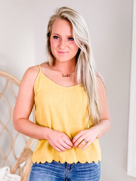 Solid Cami Adjustable Strap Top With Scallop Hem Detail (Multiple Colors)