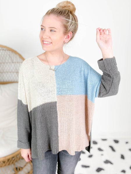 PLUS/REG Blue & Taupe Color Block Sweater Top