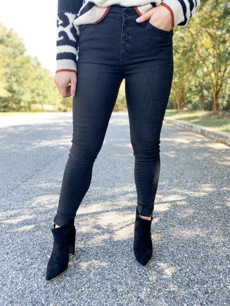 PLUS/REG KanCan Black Hole Sun High Rise Button Fly Black Jeans