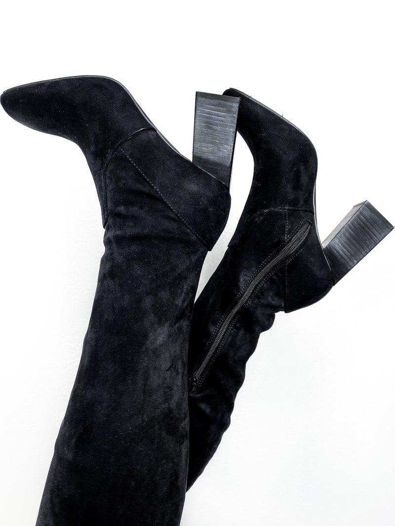 Knee High Block Heel Suede Boots (Multiple Colors)