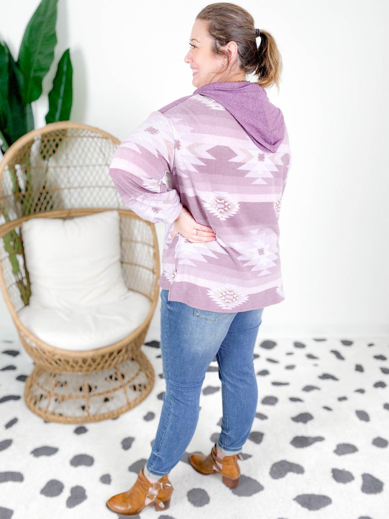 PLUS/REG Honeyme Cloud Soft Purple Aztec Hooded Top
