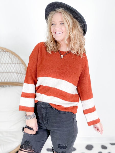 Rust Stripe Crew Neck Sweater