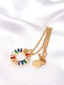 Karli Buxton Rainbow Circle Charm Necklace