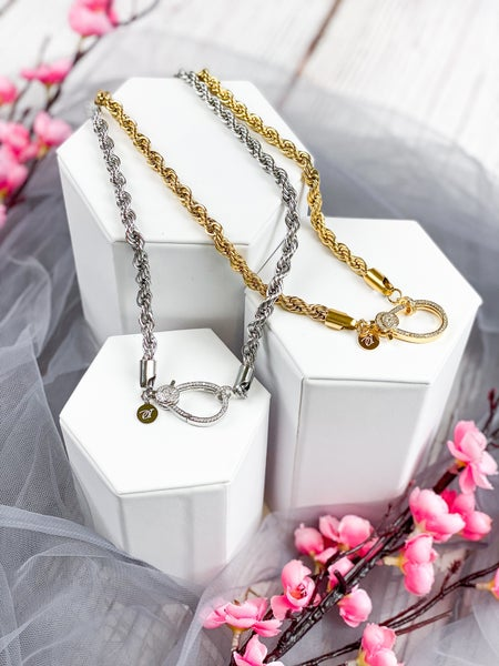 Oak & Ivy Rope Chain With Pave Clasp (Multiple Colors/Lengths)