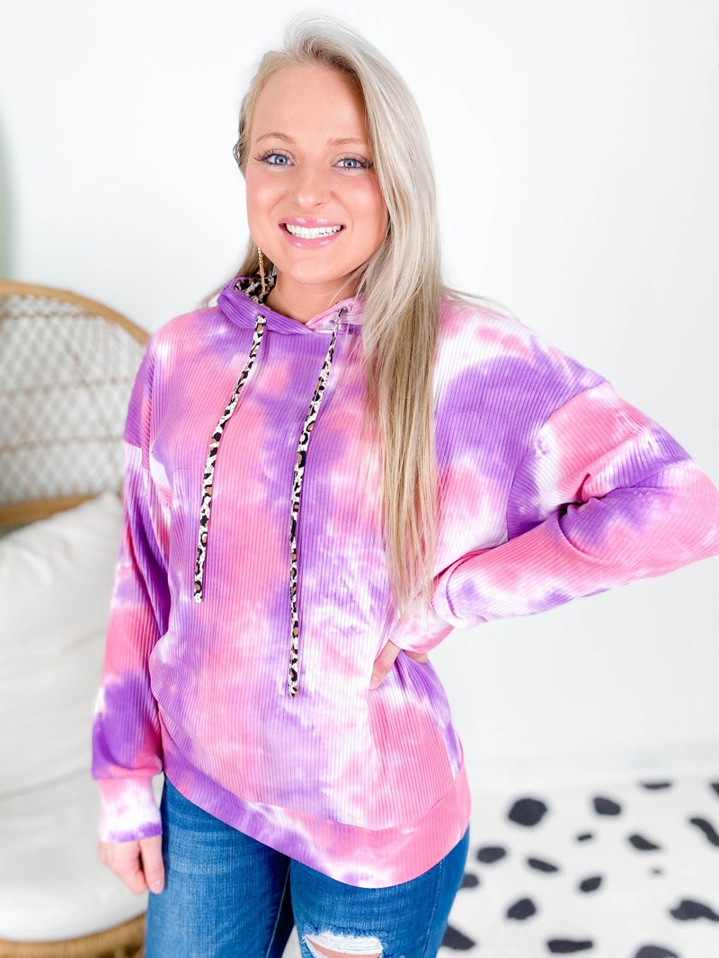 Pink Tie Dye Hooded Top With Leopard Contrast