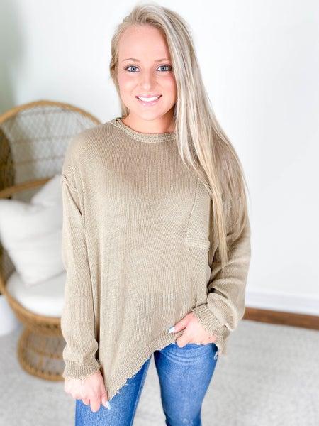 Olive Grey Oversized Boxy Sweater Top