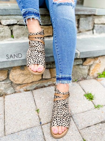 Blowfish Leopard Open Toe Ankle Sandals (Multiple Colors)