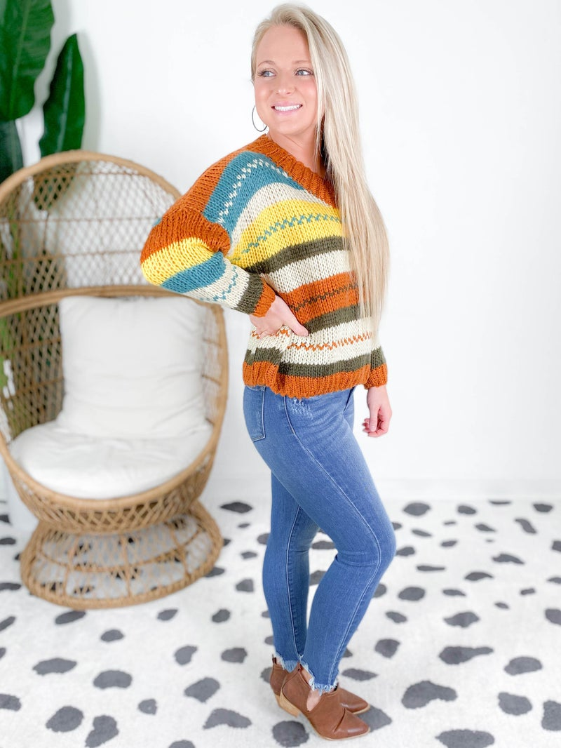 Loose Fit V Neck Striped Sweater