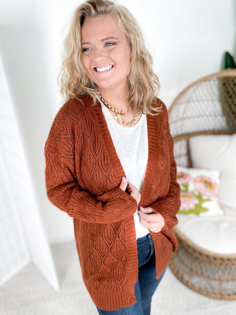 Eyelet Knit Open Cardigan (Multiple Colors)
