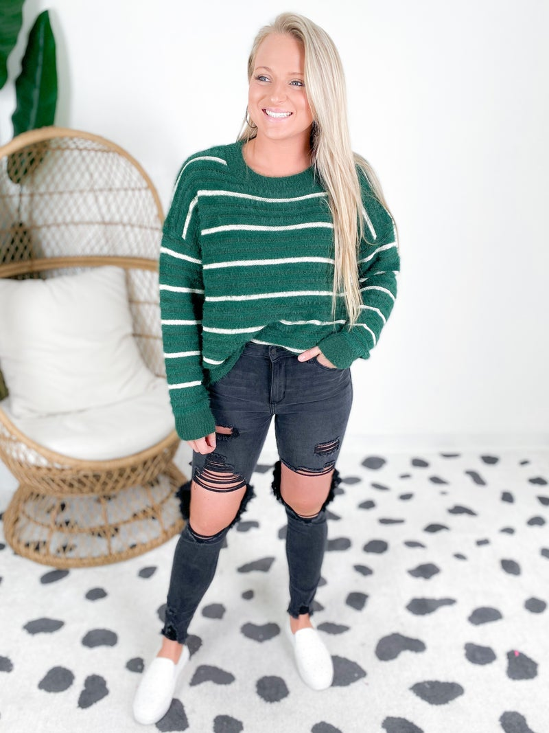 Fuzzy Sweater With Textured Stripes (Multiple Colors)