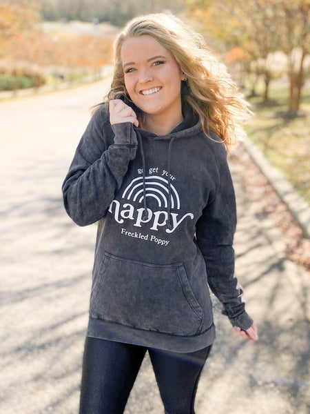 Freckled Poppy Get Your Happy French Terry Hoodie (Multiple Colors)
